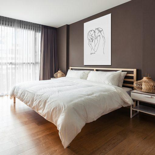 obraz do sypialni kontury postaci