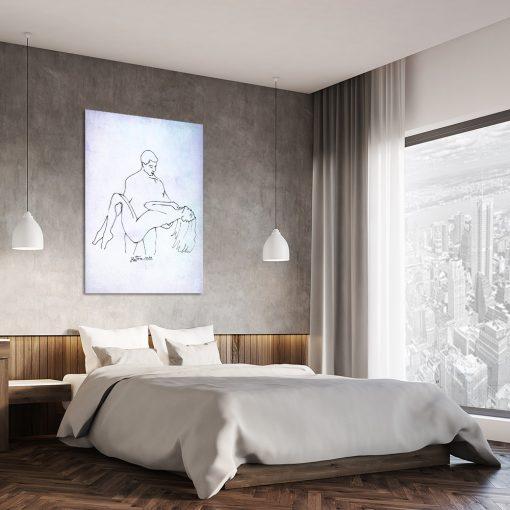 obraz do sypialni z minimalistycznym szkicem