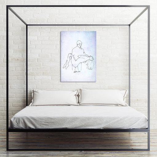 obraz do nowoczesnej sypialni ze zmysłową parą