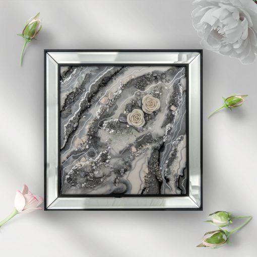 Trójwymiarowy obraz malowany żywicą z różami 1