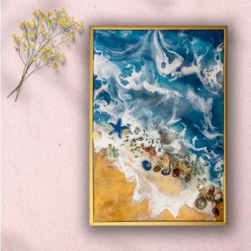 Obraz morze i plaża z żywicy z falami w złocie 1