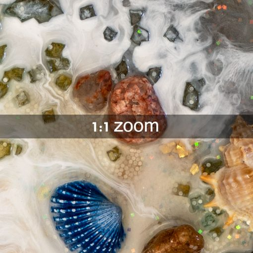 Obraz morze i plaża z żywicy z falami w złocie 2