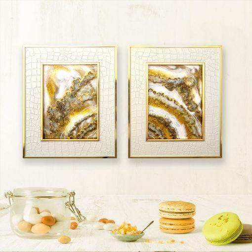 Dwuczęściowy dyptyk malowany żywicą w stylu geode glamour złoty 1