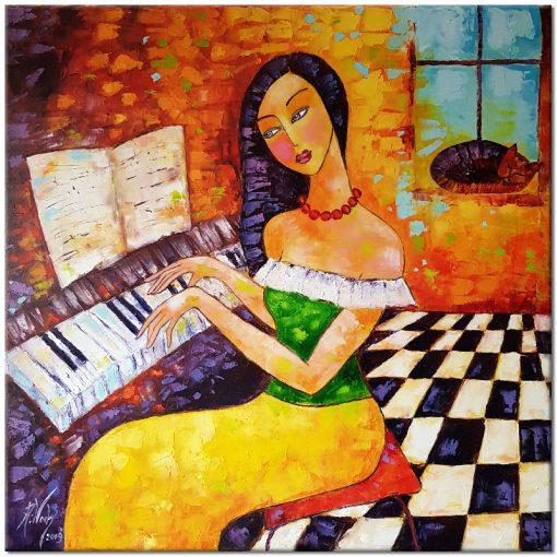 obraz z pianistką do salonu