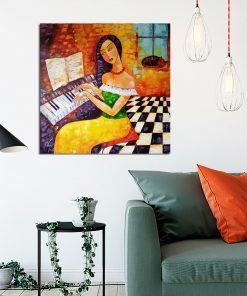 obraz z kobietą przy fortepianie