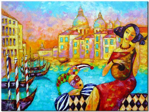 Obraz z kobietą i arlekinem - Bella Venice 1