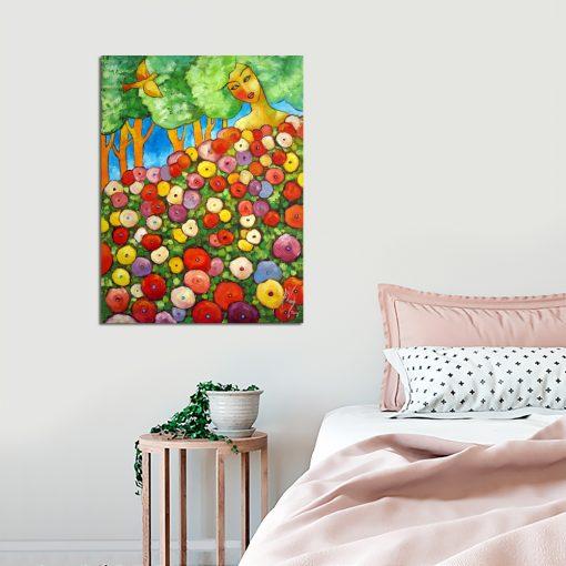 obraz kobieta i kwiaty
