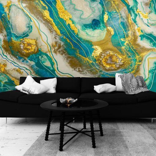fototapeta do salonu geode art turkusowo złota abstrakcja