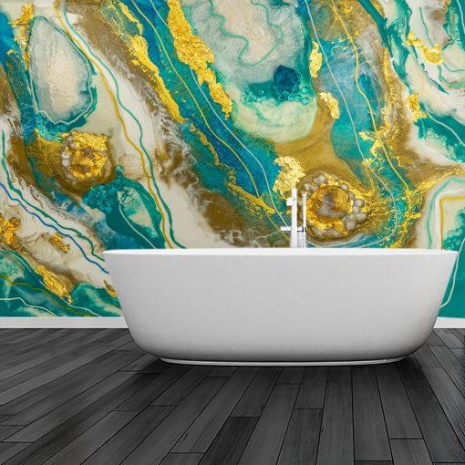 Dekoracja do łazienki fototapeta geode art żywica turkusowo złota abstrakcja