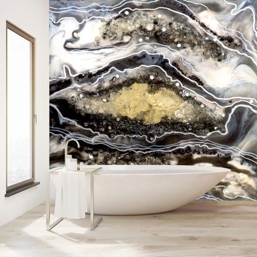 fototapeta do łazienki sztuka żywiczna abstrakcja z kamieniami