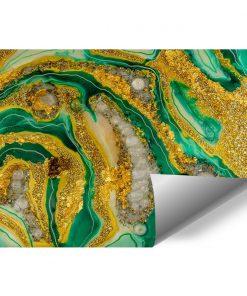 Fototapeta kompozycja malarska zielono żółta abstrakcja
