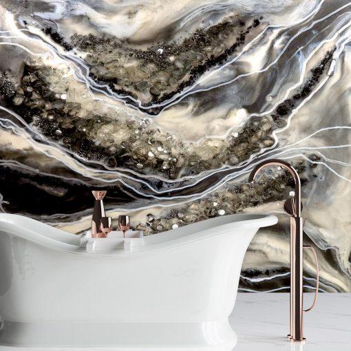 Dekoracja łazienka fototapeta czarno srebrna abstrakcja