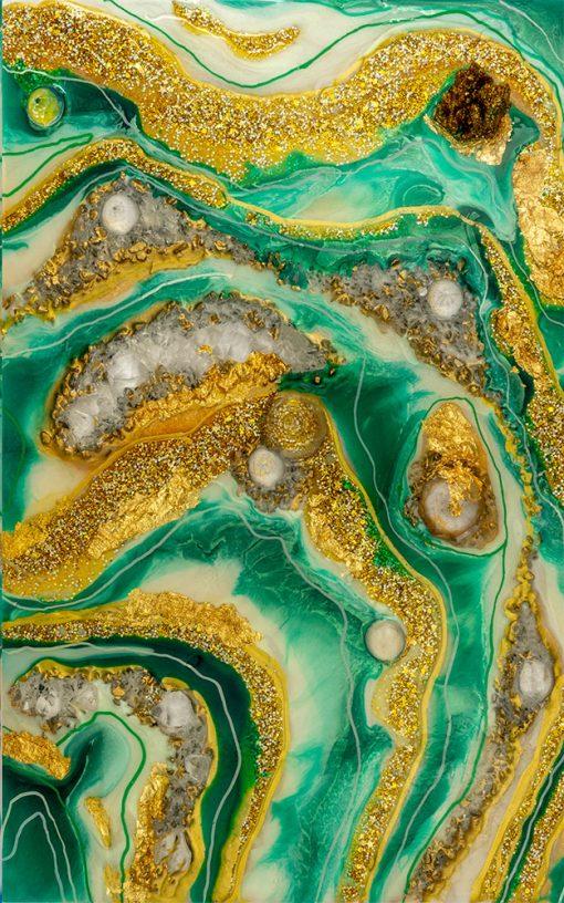fototapeta geode art ze złotymi dodatkami