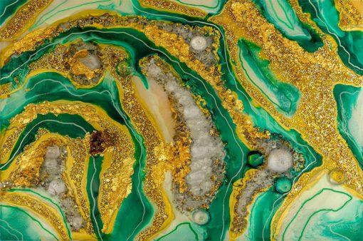 fototapeta motyw żywiczny - żółto zielone barwy