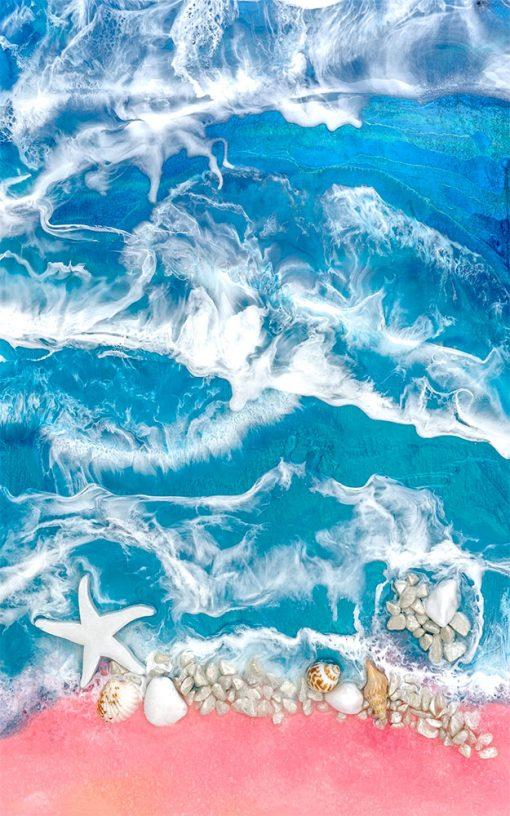 Fototapeta z malarstwem żywicznym resin sea