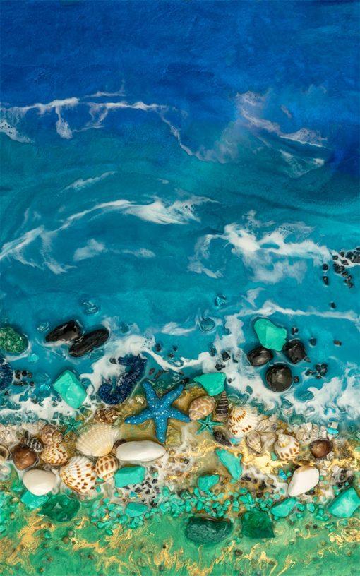 Fototapeta sztuka żywiczna morze kamienie fale