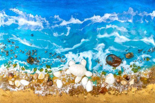 fototapeta dekoracja z kamieniami i złotem morze resin sea