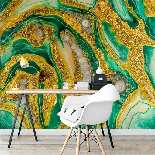 Dekoracja geode art- fototapeta do biura żółto zielona