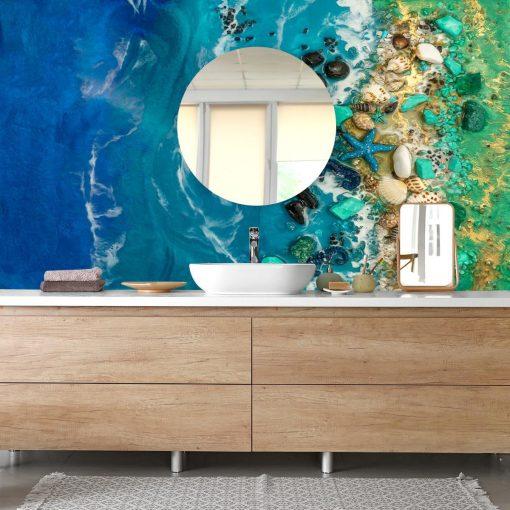 Fototapeta dekoracja do łazienki z morskim motywem zielony niebieski