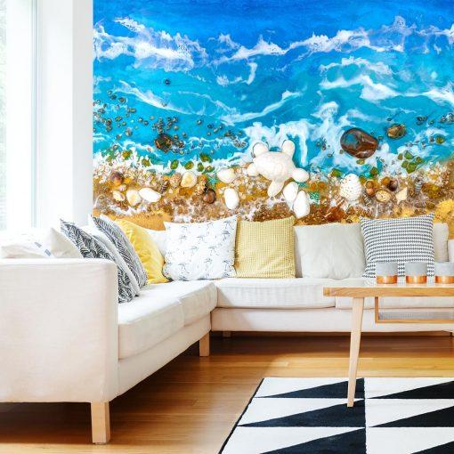 fototapeta do salonu morze muszle kamienie niebiesko złote