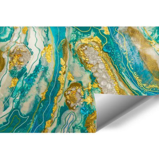 fototapeta turkusowa abstrakcja ze złotem