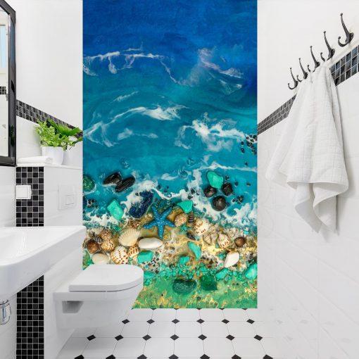 Fototapeta do łazienki motyw morza muszle zielony