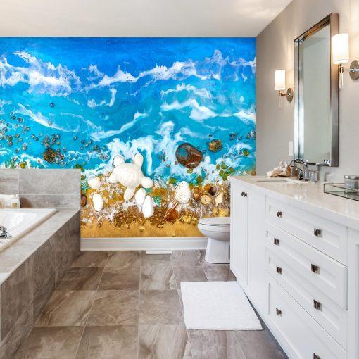 Fototapeta do łazienki sztuka żywiczna morze niebieskie fale