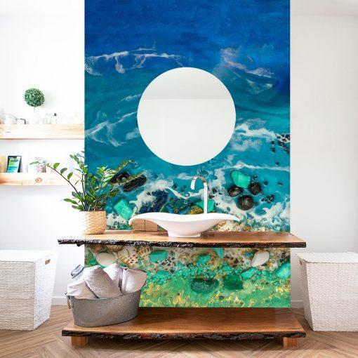 Inspiracja do łazienki z lustrem - fototapeta morze turkusowe