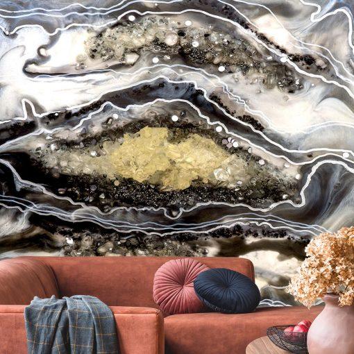 dekoracja do salonu fototapeta geode style abstrakcja szaro biała