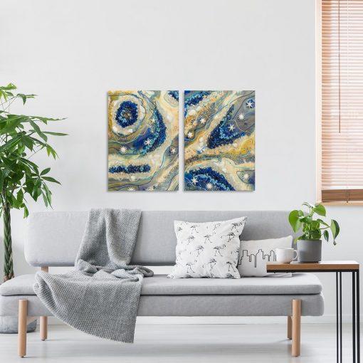 salon z malarstwo dekoracja na ścianę malowaną żywica epoksydowa obraz