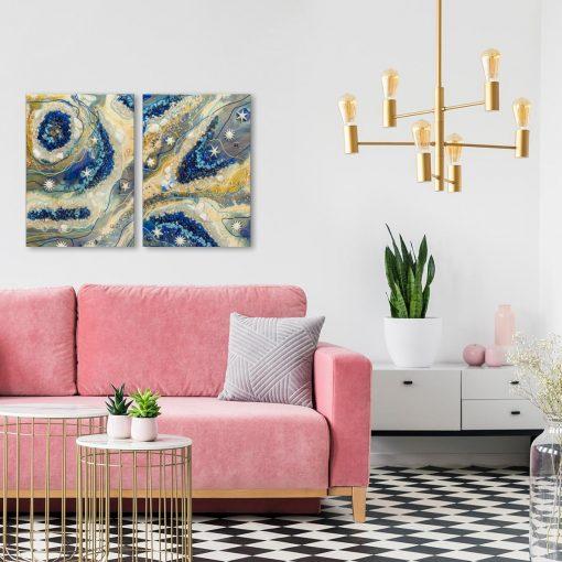 malarstwo salon nowoczesny i obraz kolorowy aranżacja