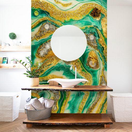 Dekoracja abstrakcja żółto zielona do łazienki