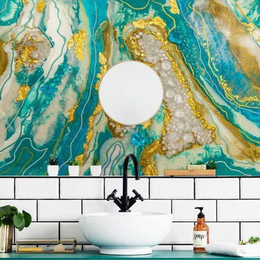 fototapeta do łazienki sztuka żywiczna turkusowo złota