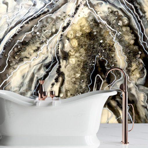 Dekoracja do łazienki fototapeta geode art kamienie srebro złoto