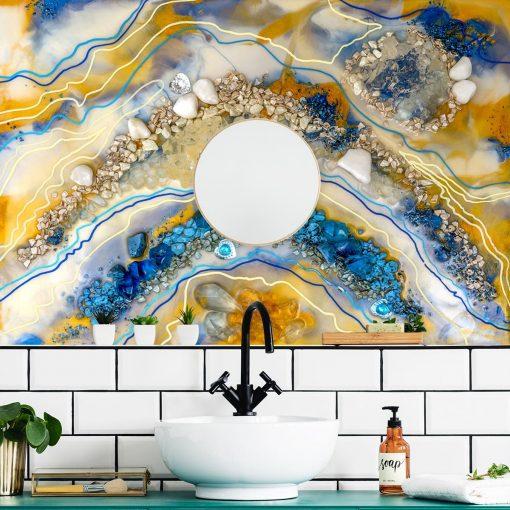 Inspiracja dekoracji do łazienki fototapeta sztuka żywiczna