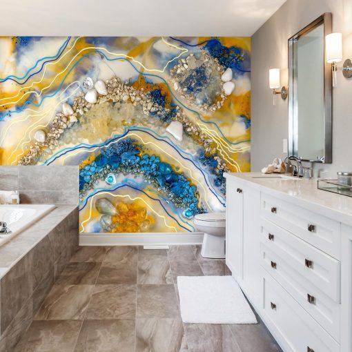 Dekoracja z kamieniami do łazienki abstrakcja niebski