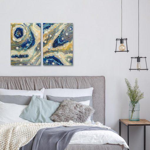 sypialnia dekorowana malarskim obrazem żywica epoksydowa