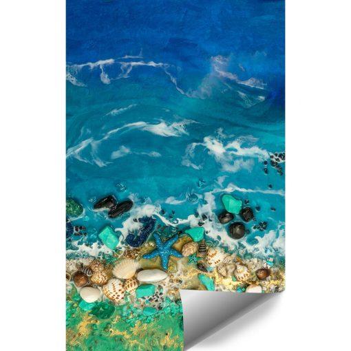 Fototapeta morze fale muszle kamyki niebiesko zielona