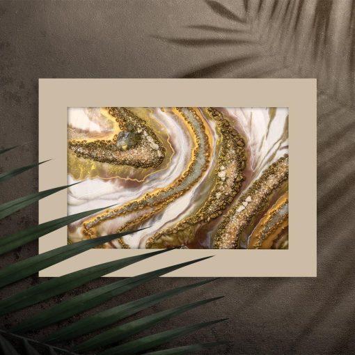 Poziomy plakat ze złotą abstrakcją do biura