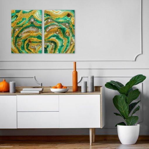 Obraz dwuczęściowy z żółto zieloną abstrakcją i kamieniami z żywicy