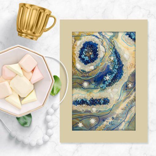 Plakat geode art z niebieskimi kamieniami