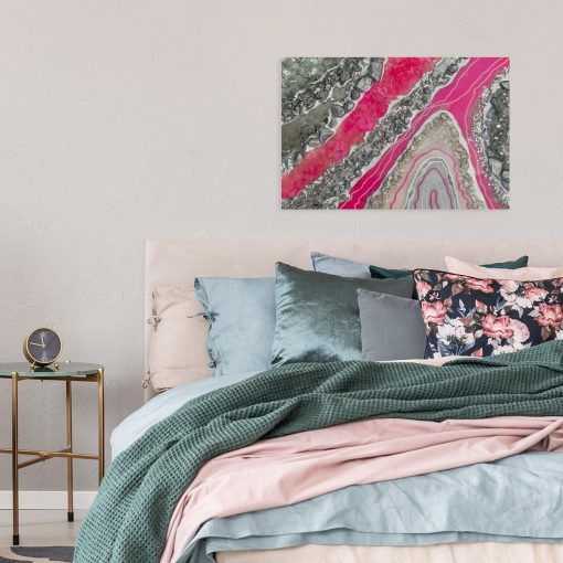 Obraz w stylu resin art z różową abstrakcją
