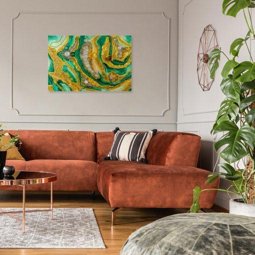 obraz z motywem abstrakcyjnym do salonu ze złotymi elementami