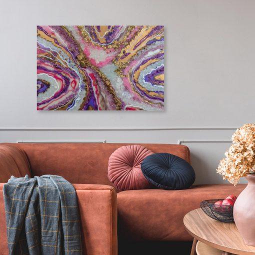 Obraz z motywem fioletowo-różowej abstrakcji