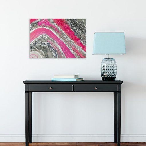 Obraz z różową abstrakcją do sypialni