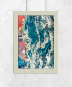 Plakat resin art z motywem morza i różowej plaży