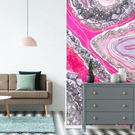 Fototapeta z różowymi kryształkami do salonu