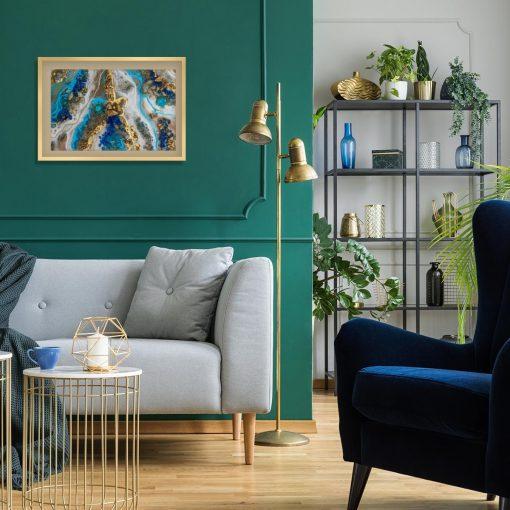 Plakat z niebieską abstrakcją do salonu
