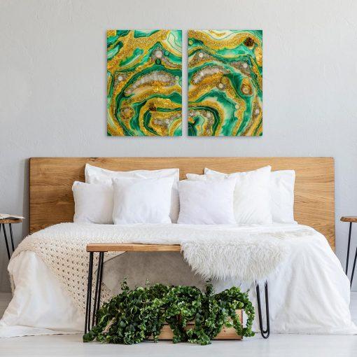 Dyptyk do sypialni zielono zółta abstrakcja geode art