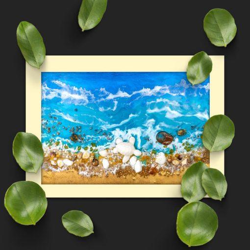 Plakat resin sea z żółwiem